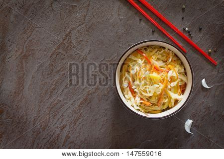 Korean Salad Of Cabbage, Carrots, Sweet Peppers - Kimchi. Top View, Copy Space.
