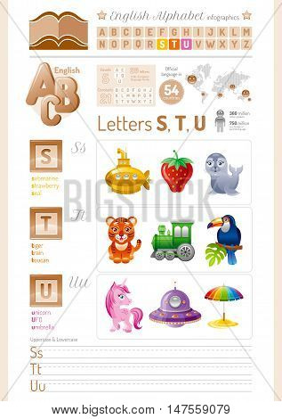 Vector illustration. English alphabet ABC icon set in elegant style. Letter S, T, U infographics with toy block, symbol - submarine, strawberry, seal, tiger, toy train, toucan, unicorn, UFO, umbrella