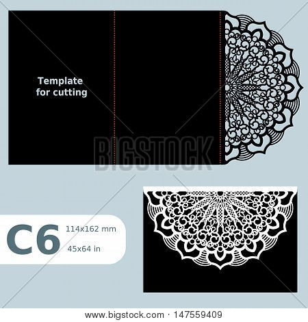 C6 paper openwork greeting card wedding invitation template for cutting lace invitation card with fold lines object isolated background laser cut template vector illustration