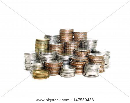 Stack of various Thai baht coins isolated on white background. Saving money growth money concept. (selective focus)