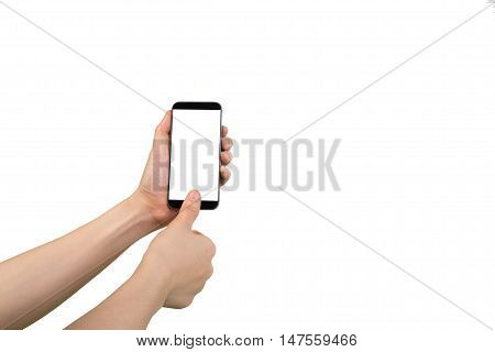 human hand scanning fingerprint on cell phone Left hand holding white blank on screen cell phone and isolated white background.