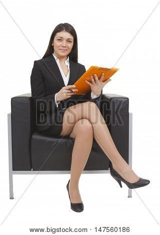 Businesswoman Sitting Looking Documents