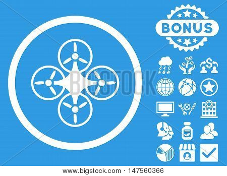 Air Drone icon with bonus symbols. Vector illustration style is flat iconic symbols, white color, blue background.
