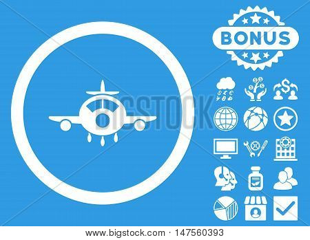 Aircraft icon with bonus design elements. Vector illustration style is flat iconic symbols, white color, blue background.