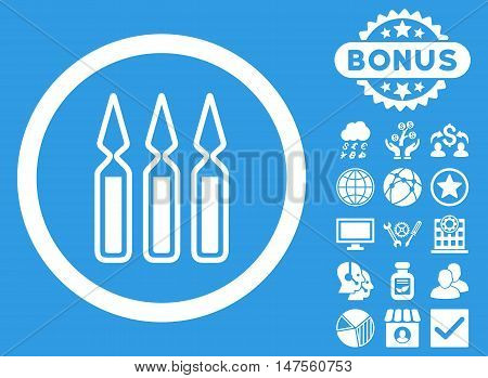 Ampoules icon with bonus pictures. Vector illustration style is flat iconic symbols, white color, blue background.