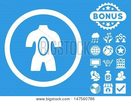 Anatomy icon with bonus pictures. Vector illustration style is flat iconic symbols, white color, blue background.