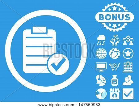 Apply Form icon with bonus pictogram. Vector illustration style is flat iconic symbols, white color, blue background.