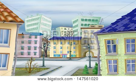 Cityscape in a late autumn Day. Digital Painting Background Illustration in cartoon style character.