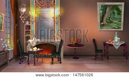 Digital Painting Background Illustration of Vintage Home Interior in 19ht century style