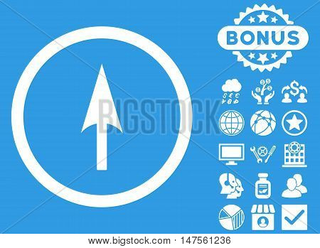 Arrow Axis Y icon with bonus elements. Vector illustration style is flat iconic symbols, white color, blue background.