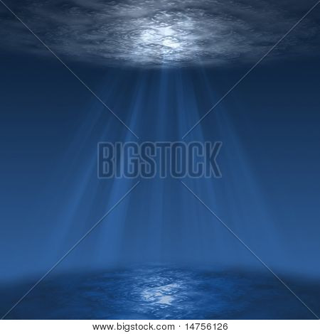 deep blue sea, or underwater scene with sun rays