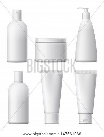 Blank cosmetic package set. White plastic bottle beauty product. Сollection for cream shampoo lotion foams. isolated on white background.
