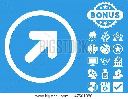 Arrow Up Right icon with bonus symbols. Vector illustration style is flat iconic symbols, white color, blue background.