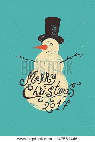 Calligraphic retro Christmas card design with snowman. Grunge vector illustration.