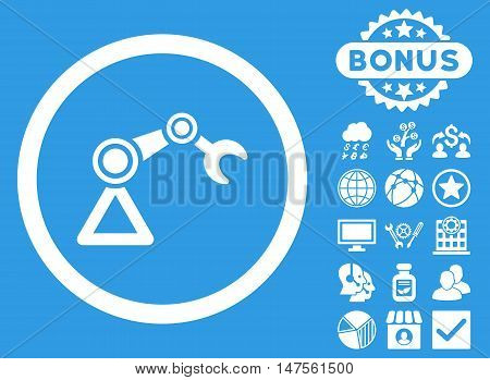 Artificial Manipulator icon with bonus design elements. Vector illustration style is flat iconic symbols, white color, blue background.