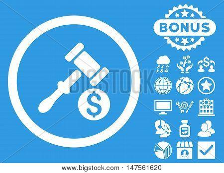 Auction icon with bonus images. Vector illustration style is flat iconic symbols, white color, blue background.