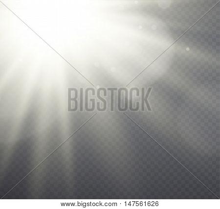 White light effect sunlight beams on transparent background.