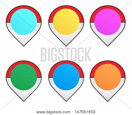 Navigation pins. Locations pointers. GPS markers on white background.