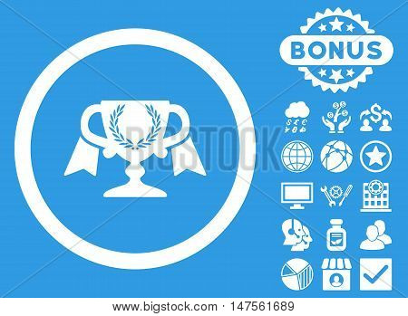 Award Cup icon with bonus symbols. Vector illustration style is flat iconic symbols, white color, blue background.