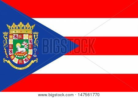 Flag of Puerto Rico State located in the northeastern Caribbean United States