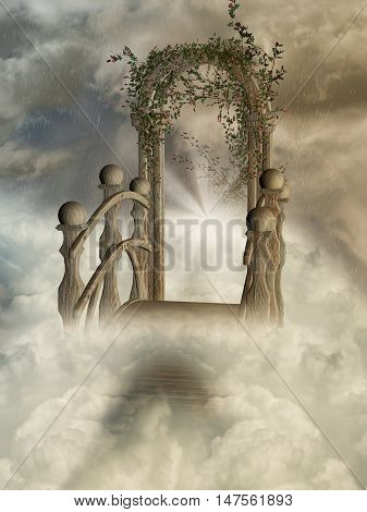 door in the heaven with rain and flowers