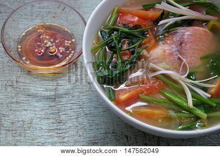 Vietnamese Food, Fish Soup, Red Tiapia