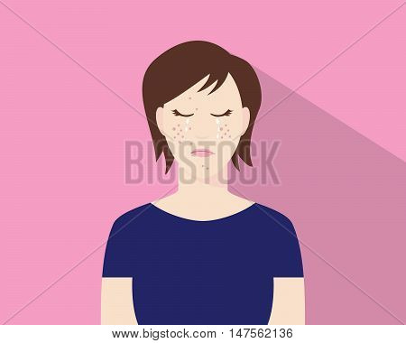 women crying because of his acne or pimple illustration with pink background vector