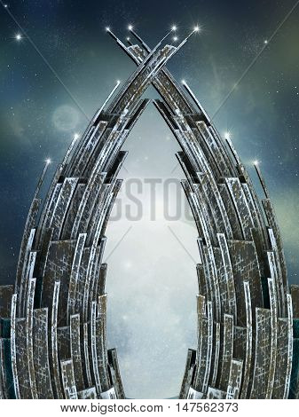 gate in the space 3d computer graphic