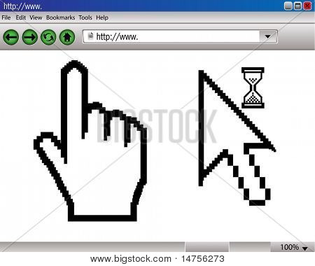 hand cursor with web page illustrated