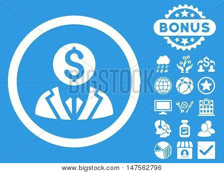 Banker icon with bonus images. Vector illustration style is flat iconic symbols, white color, blue background.