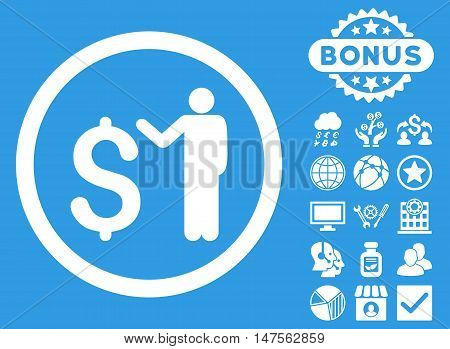 Banker icon with bonus elements. Vector illustration style is flat iconic symbols, white color, blue background.