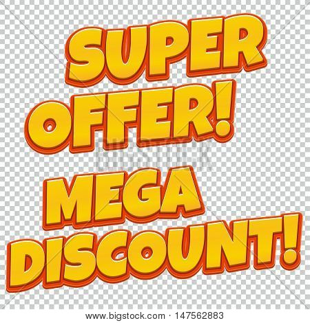 Collection of Mega Discount and Best Seller comic banner. Sale background. Poster can be used for banners, flyers, outdoor printing, web.