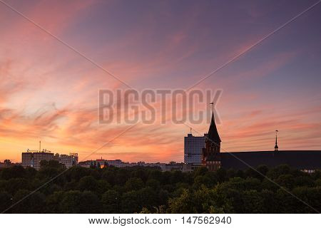 Kaliningrad Russia - June 23 2016: Cathedral on the island of Kant at sunset time