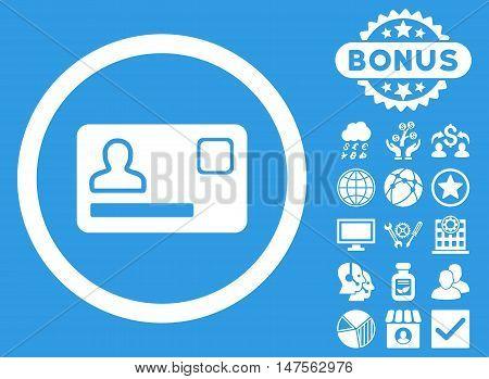 Banking Card icon with bonus images. Vector illustration style is flat iconic symbols, white color, blue background.