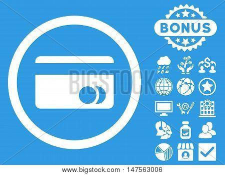 Banking Card icon with bonus symbols. Vector illustration style is flat iconic symbols, white color, blue background.