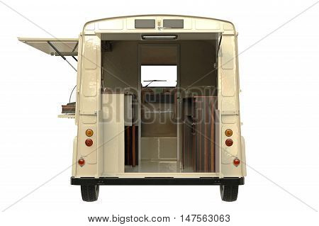 Food car retro style with open doors, back view. 3D graphic