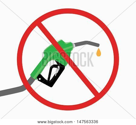 fuel pump with ban or stop icon and drop gasoline with white background vector
