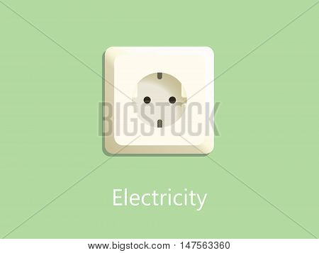 electricity socket plug on green background with text vector