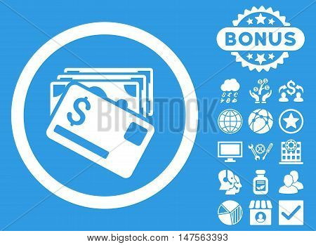 Banknotes and Card icon with bonus elements. Vector illustration style is flat iconic symbols, white color, blue background.