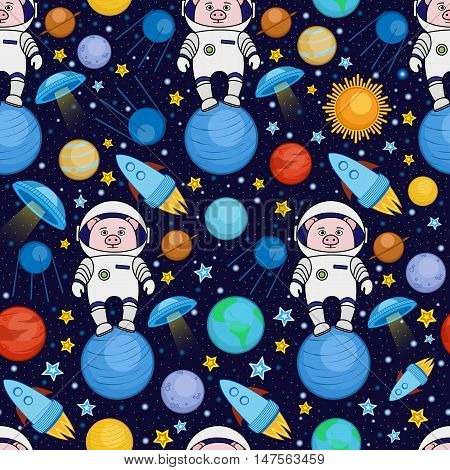 Colorful seamless cartoon space pattern with pig astronauts, rockets, planets, stars on starry night sky background, vector illustration. Cute and bright space travel seamless pattern