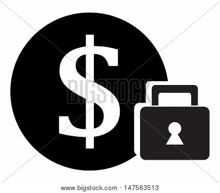 Secure Money Icon padlock security safety simplicity symbol