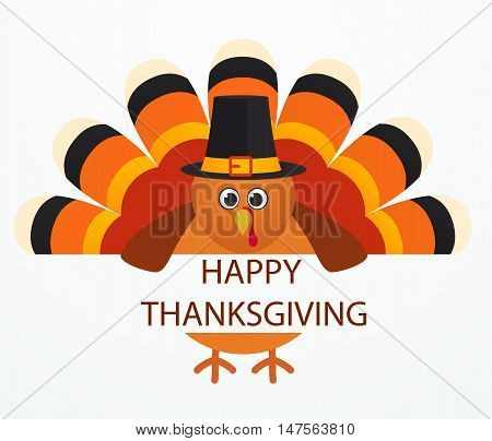 Thanksgiving Day. Colorful cartoon turkey bird on white background.