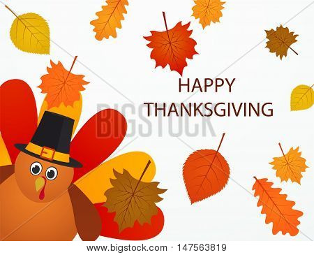 Happy thanksgiving Day. Colorful cartoon turkey bird with autumn leaves.