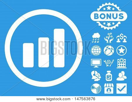 Bar Chart Increase icon with bonus pictures. Vector illustration style is flat iconic symbols, white color, blue background.