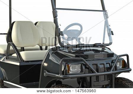 Golf car black golfing equipment, close view. 3D graphic
