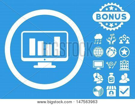 Bar Chart Monitoring icon with bonus pictogram. Vector illustration style is flat iconic symbols, white color, blue background.