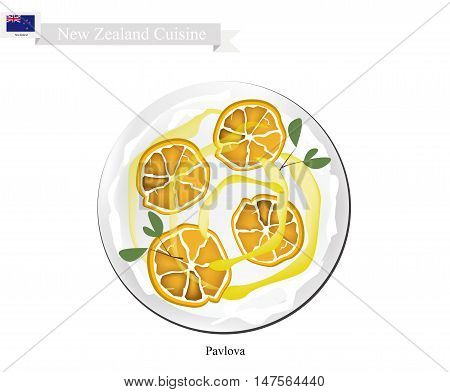 New Zealand Cuisine Pavlova Meringue Cake Top with Ripe Oranges. One of Most Popular Dessert in New Zealand.