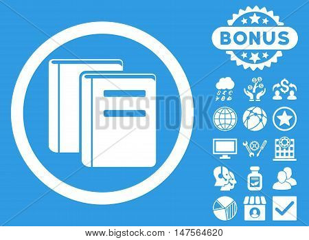 Books icon with bonus images. Vector illustration style is flat iconic symbols, white color, blue background.