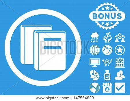 Books icon with bonus images. Vector illustration style is flat iconic symbols, white color, blue background.