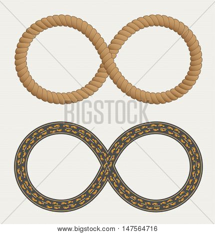 Infinity symbol in the form rope and roads. Infinity symbol. Road with footprints shoes.